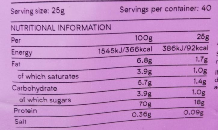 アールグレイ味栄養成分